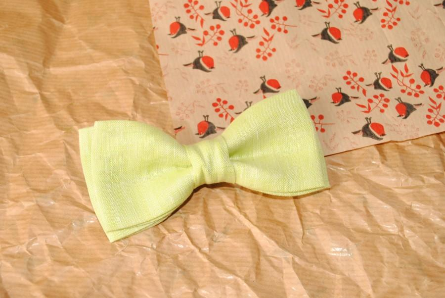 Wedding - lime bow tie lime chambray linen bow tie lime green bowtie lime wedding groom's necktie groom's pocket square toddler groomsmen linen ties - $8.11 USD