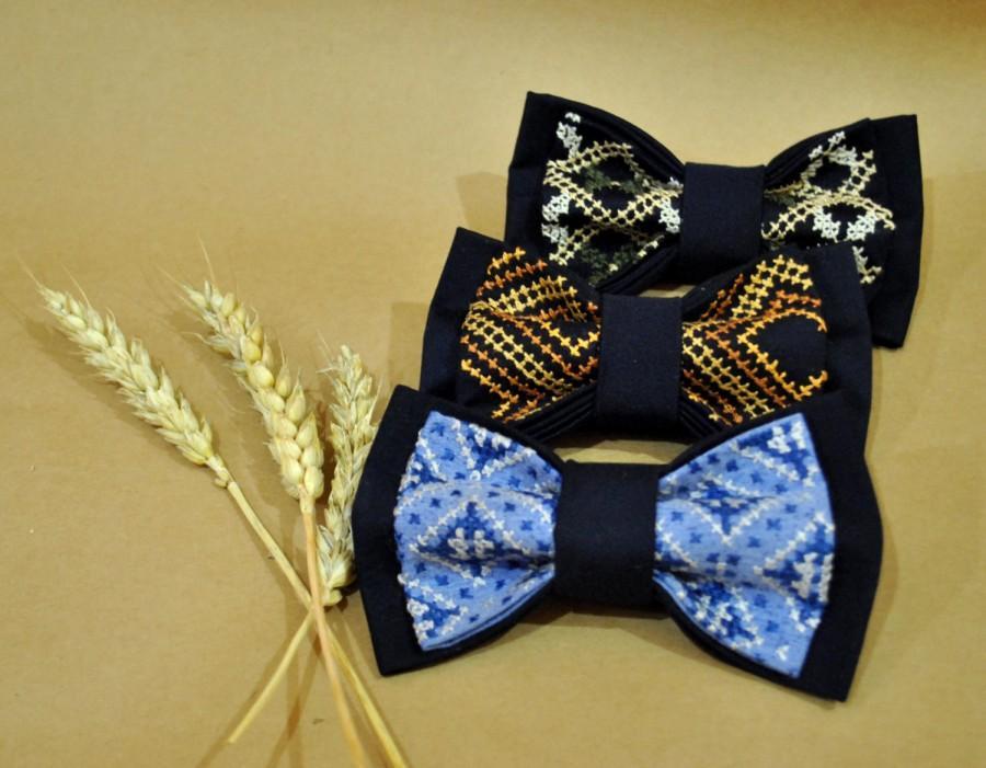 Wedding - weddings wedding set of 3 EMBROIDERED men's bow ties navy blue bow tie groomsmen bow ties groom necktie men gift for boyfriend gift for boys - $121.12 USD