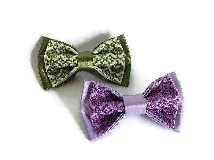 Wedding - Wedding 2017 Satin wedding bow ties Set of 2 men's bowties Kale bow tie Lilac groom necktie Pantone wedding colours Lilac green wedding asdr - $29.61 USD