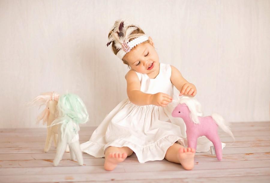 Wedding - Girls dresses,  birthday photoshoot dress, white ivory portrait Dress, timeless cotton dress, portrait dress, toddler, flower girl, simple,