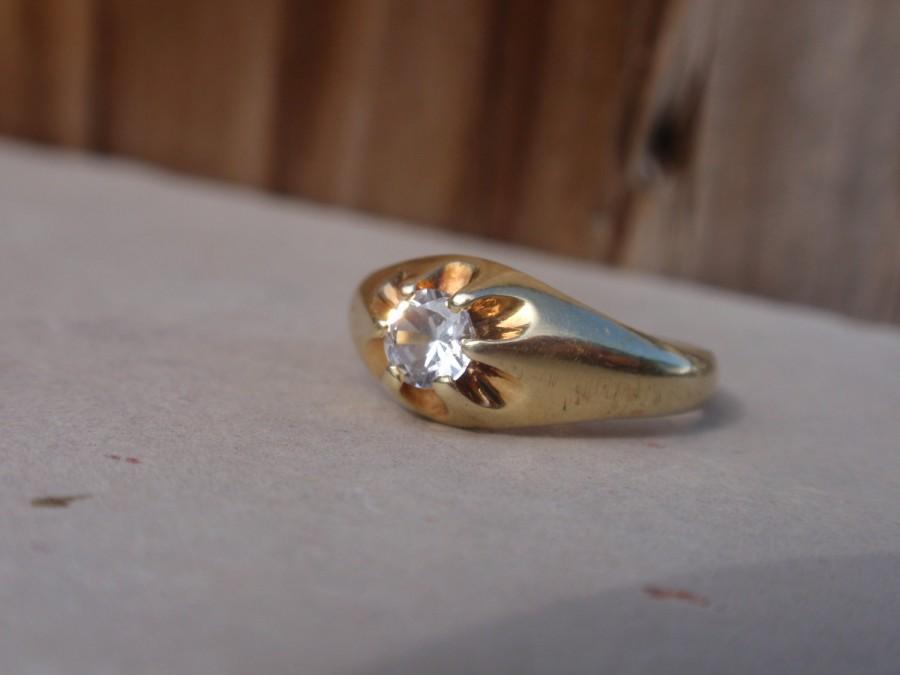 Wedding - Victorian Belcher Enagement Ring White Spinel Claw Set 14k yellow gold round solitaire gypsy buttercup
