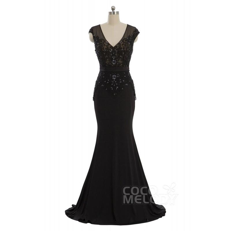 280e708435 Chic Trumpet-Mermaid V-Neck Train Chiffon Black Cap Sleeve Key Hole Mother  of The Bride Dress with Beading - Top Designer Wedding Online-Shop