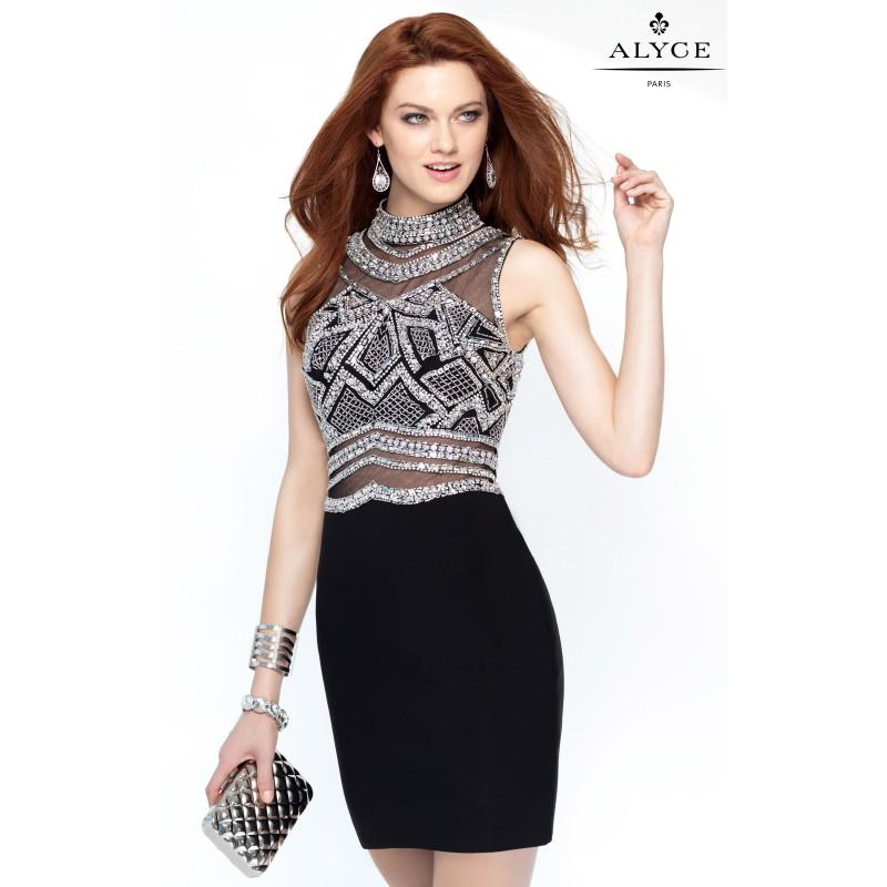 Wedding - Black/Silver Alyce Paris 4445 - Sleeveless Short Open Back Sequin Sexy Sheer Dress - Customize Your Prom Dress