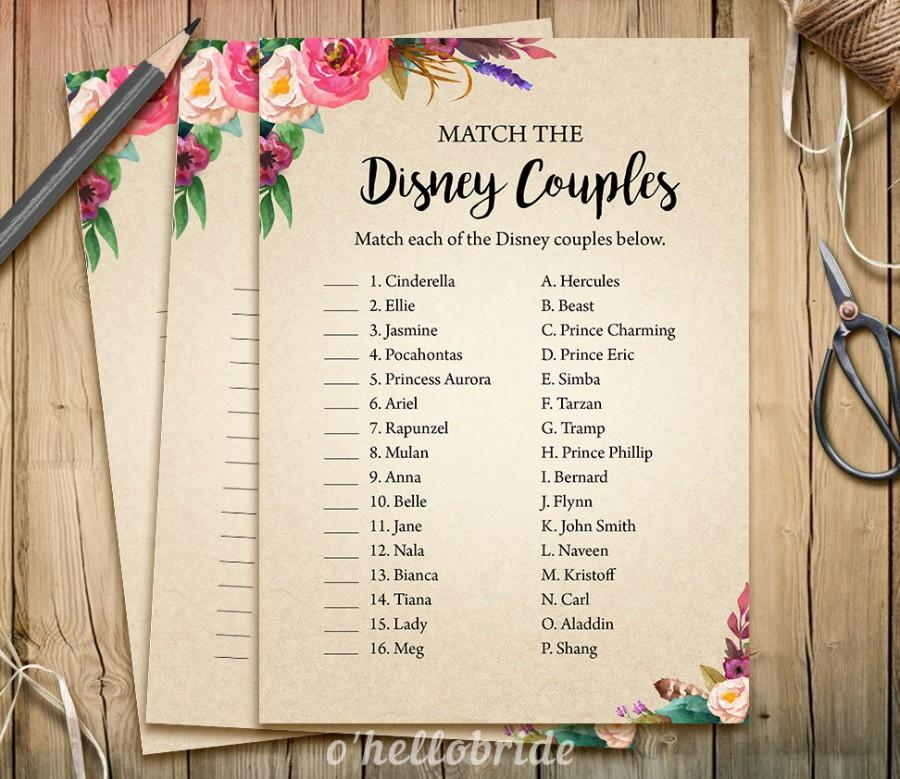 photo regarding Printable Games for Couples identified as Disney Partners Activity Video game - Printable Boho Bohemian Bridal
