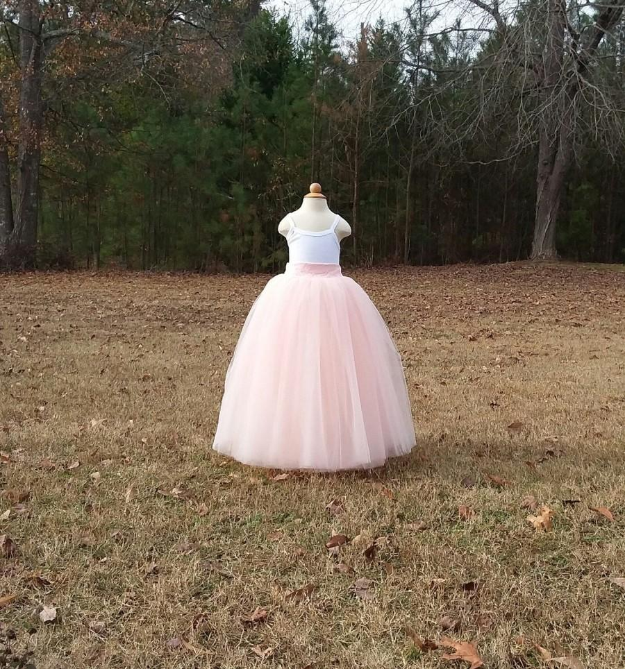 Wedding - Free Shipping to USA Custom Made Girls Blush   Floor Length Tulle Skirt -Blush Tutu Skirtl,Country Wedding,Rustic Wedding for Flower girl