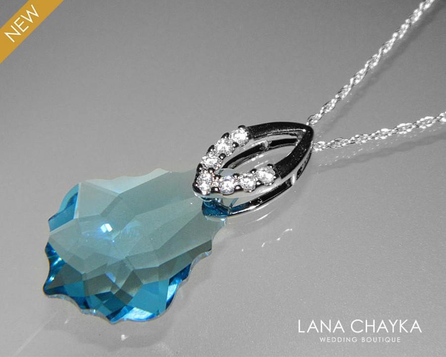 Wedding - Aquamarine Crystal Necklace Swarovski Aquamarine Baroque Pendant Aqua Blue Silver Necklace Birthstone Necklace Bridal Blue CVrystal Jewelry - $27.90 USD