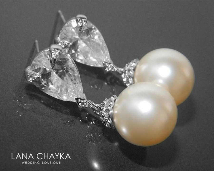 Boda - Pearl Cubic Zirconia Bridal Earrings Swarovski 12mm Ivory Color Pearl Drop Earrings Wedding Earrings Large Pearl Earrings Prom Pearl Jewelry - $32.50 USD