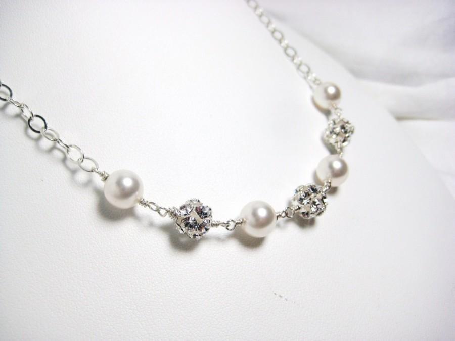 زفاف - Bridal Necklace, Swarovski White Pearls and Rhinestones, Bridesmaids Jewelry, Wire Wrapped, Wedding Necklace, Sterling Silver