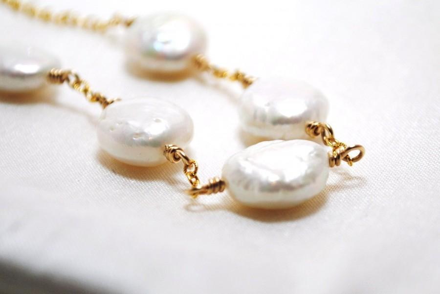 زفاف - Freshwater Pearl Necklace Gold White Coin Simple Elegant Fashion Bridal Wedding Handmade Chain