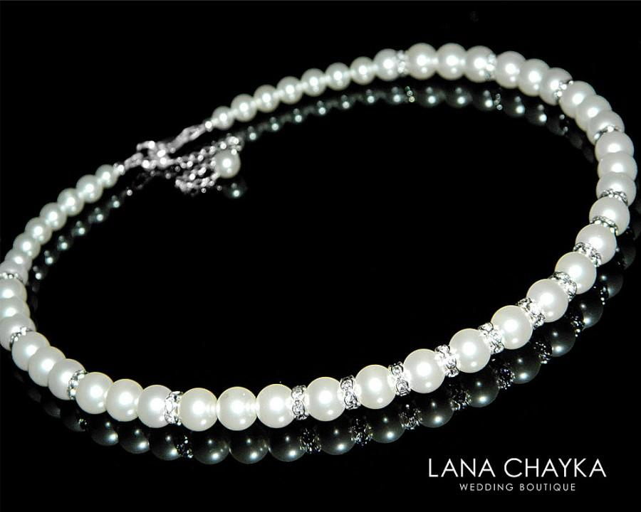 Свадьба - White Pearl Bridal Necklace Wedding Pearl Statement Necklace Swarovski White Pearl Necklace Pearl Bridal Jewelry One Strand Bridal Necklace - $35.00 USD