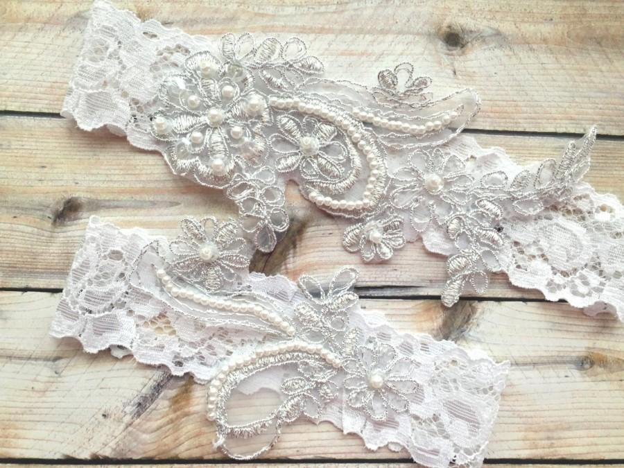 Свадьба - Silver Garter Set, White Lace Garter, White Wedding Garter, White Bridal Garter, Silver white garter set, Silver wedding garter