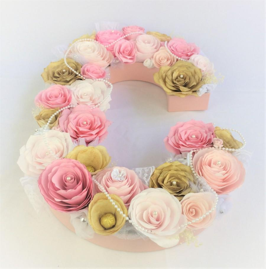 Pink And Gold Paper Flower Letter Floral Letter Pearl And Lace
