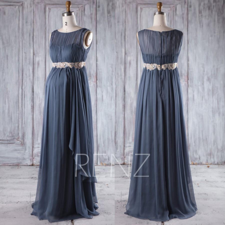 Wedding - 2017 Steel Blue Chiffon Maternity Bridesmaid Dress, Ruched Gold Belt Wedding Dress, Long Prom Dress, Elegant Dress Floor Length (HM389)