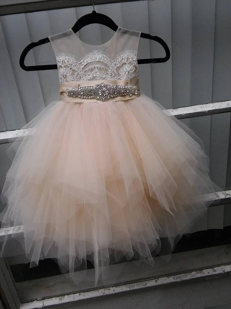 Wedding - Stunning flower girl dress with champagne /butterscotch tulle skirt, rhinestone sash, Bianca