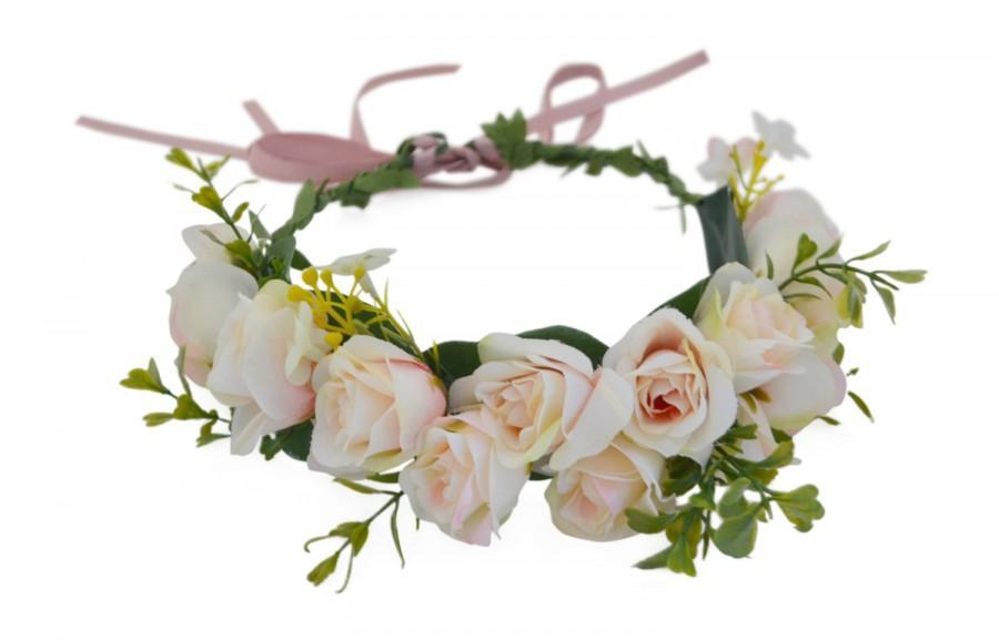 زفاف - Blush Pink Flower Crown -- Blush Pink Roses Flower Crown -- Flower Girl Flower Crown -- Bridesmaids Flower Crown