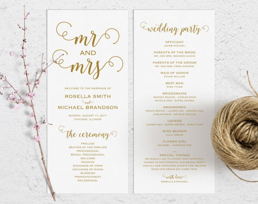 Gold Wedding Program Template Ceremony Printable Programs Kraft Fan Pdf Instant Wpc 262
