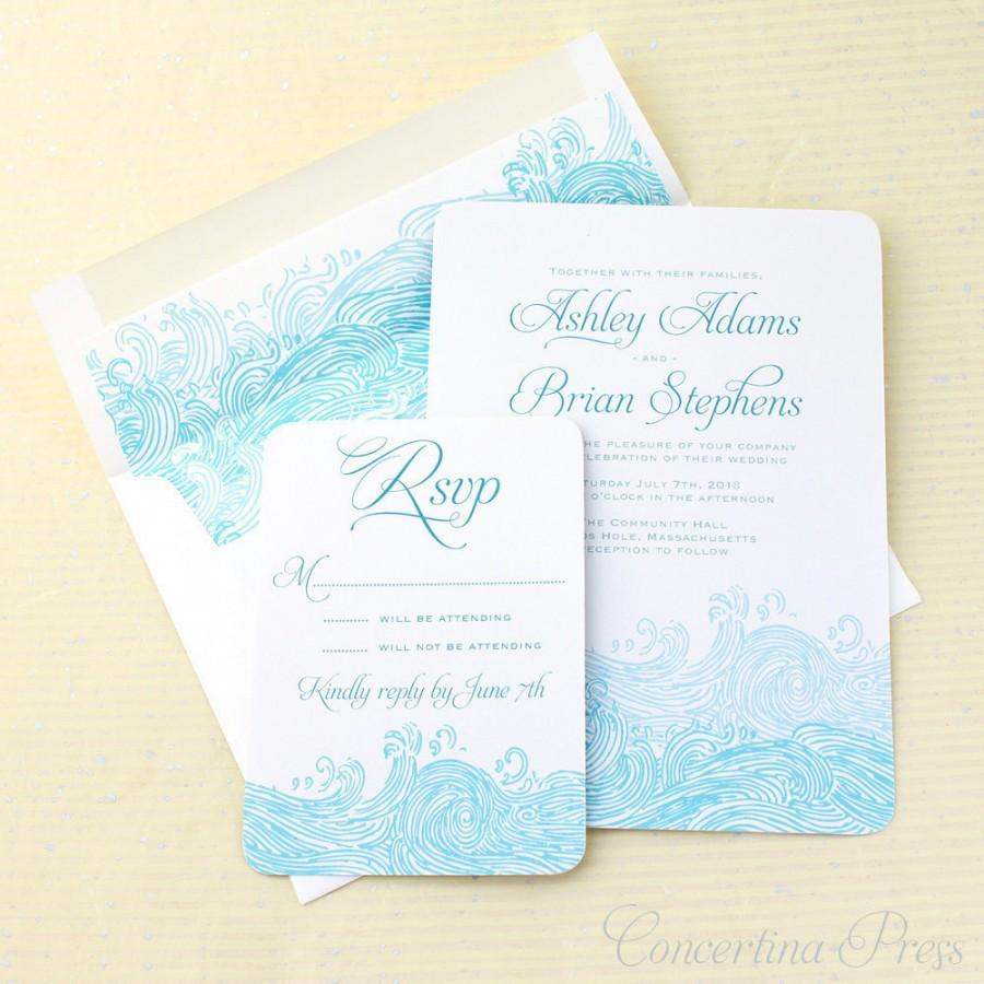 Beach Wedding Invitations Waves Invitation Nautical Invites Sea Wave Invite Boho Set