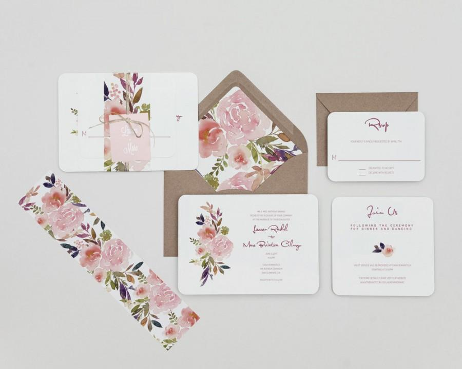 Mariage - Rustic Mauve and Blush Floral Wedding Invitations Set ,Country Floral Wedding Invitations,Winter Floral Wedding Invites, Fall Floral Wedding