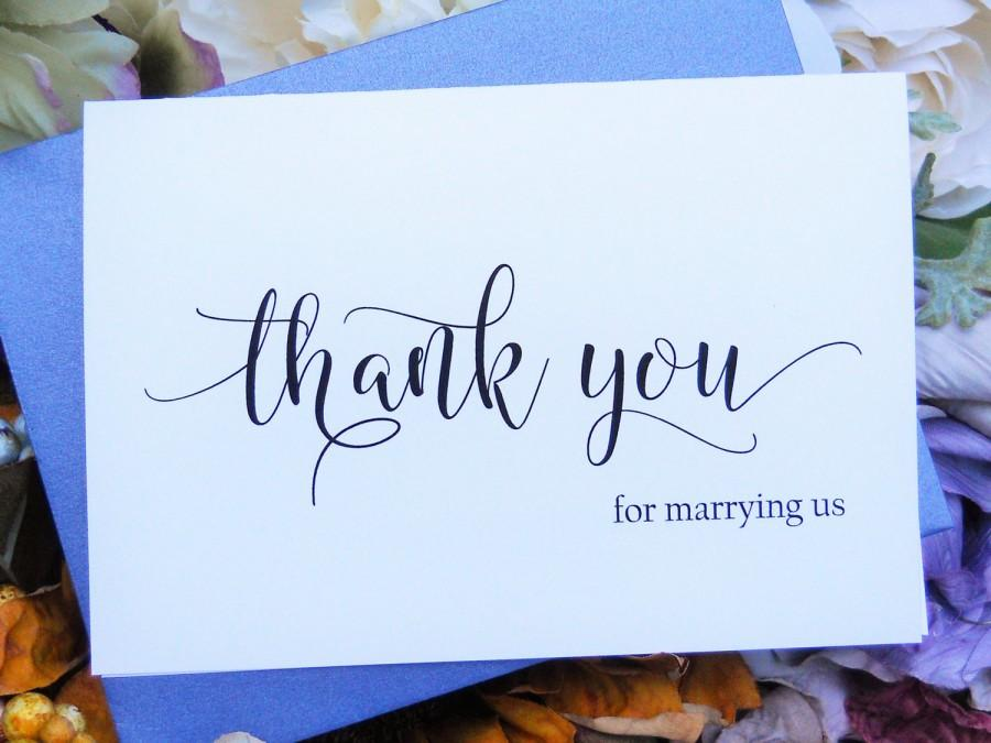 Thank You For Marrying Us Card Officiant Thank You Card