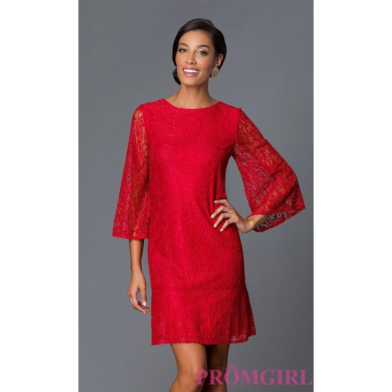 Short Red Lace Bell Sleeve Party Dress By Tiana B Discount