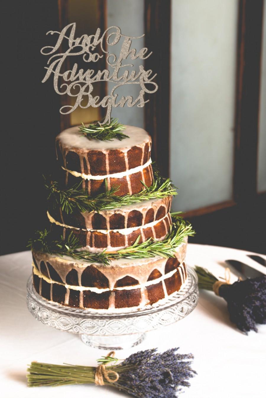 Hochzeit - And So The Adventure Begins Wedding Cake Topper, Fall Wedding Cakes, Wedding Cake, Glitter cake topper, Script Cake Topper, Word Cake Topper