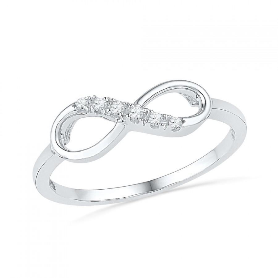 Womens Promise Ring 10k White Gold Infinity Band Or Sterling