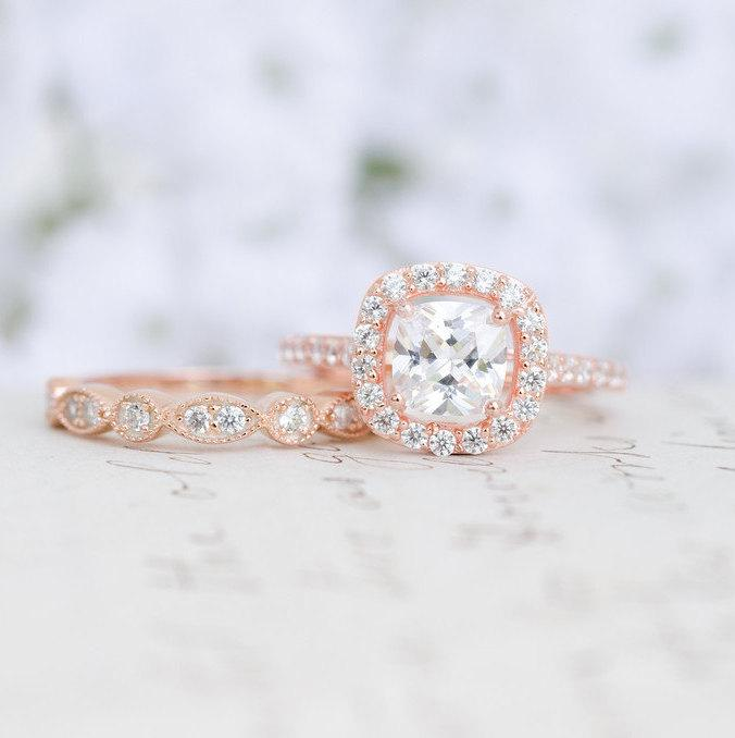 Свадьба - Rose Gold Wedding Set - Art Deco Ring - Engagement Ring - Wedding Ring - Cushion Cut Ring - Halo Ring - Sterling Silver - Vintage Inspired