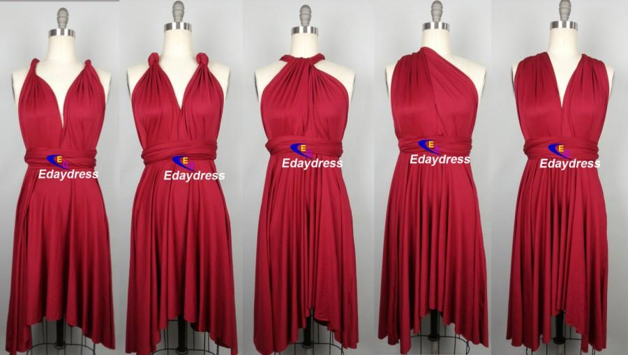 85608887b512 Summer Multi Way Bridesmaid Dress Infinity Dress Dark Red Brick Red Short  Knee Length Wrap Convertible Dress Wedding Dress Evening Dresses