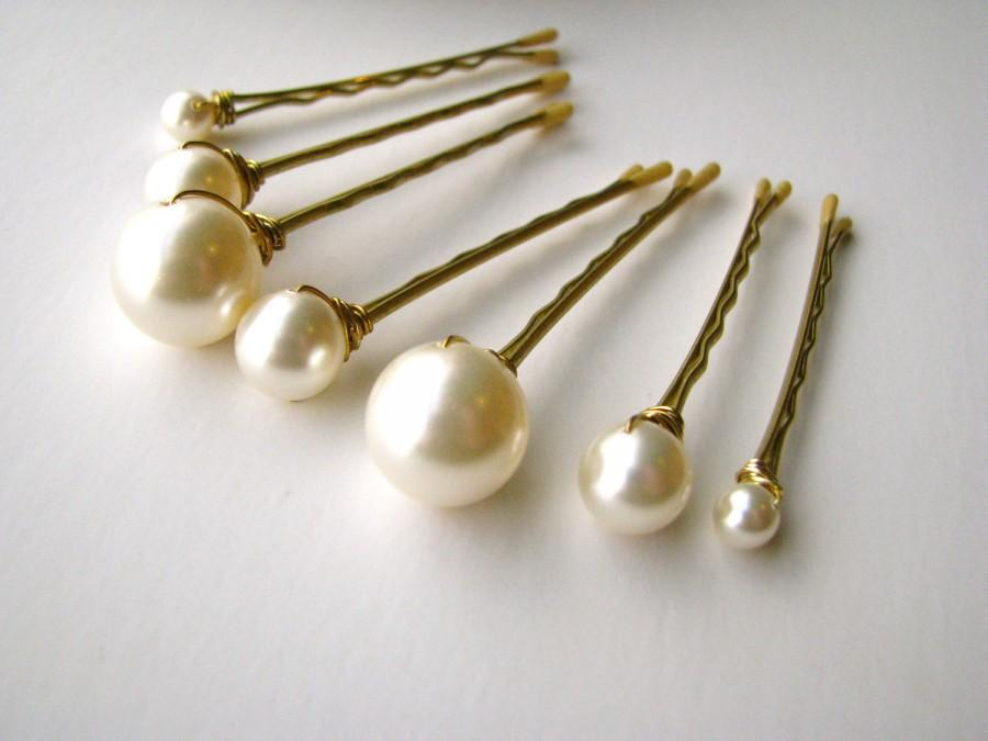 Mariage - Cream Ivory Pearl Hair Pin Set of 7 in Mixed Sizes