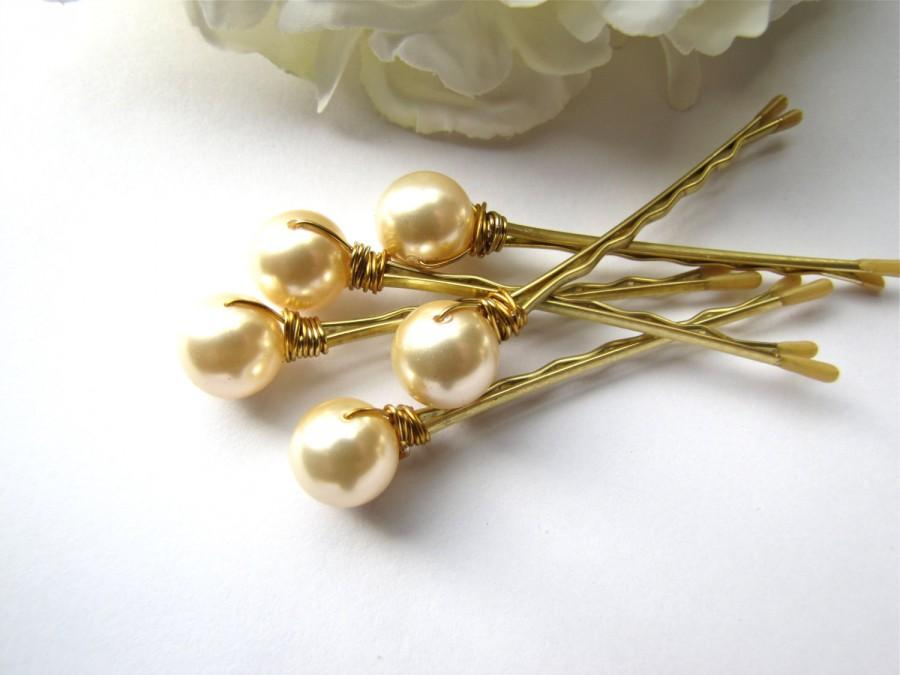 Свадьба - Light Gold Ivory Hair Pearl Pins Wedding Set