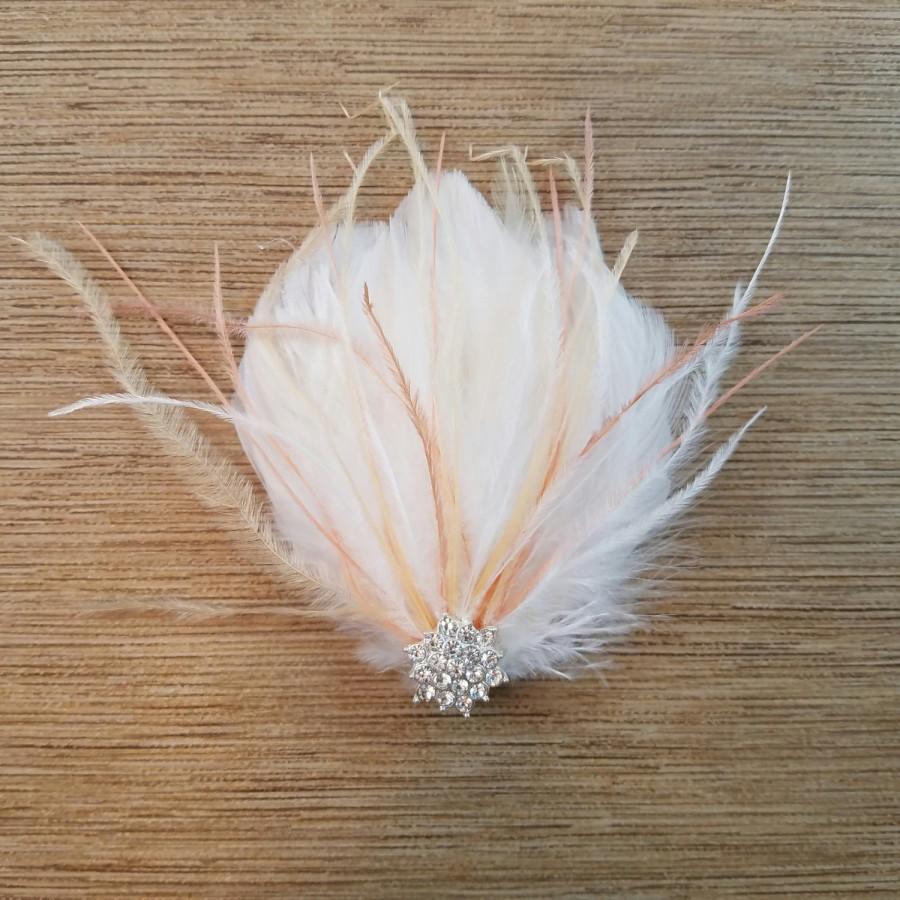 Свадьба - Petiet Bridal Fascinator, Feather Fascinator, White/Dusty Rose Bridal Hair Clip, Dusty Rose Feathers, Hair Clip, Wedding Hair Accessory