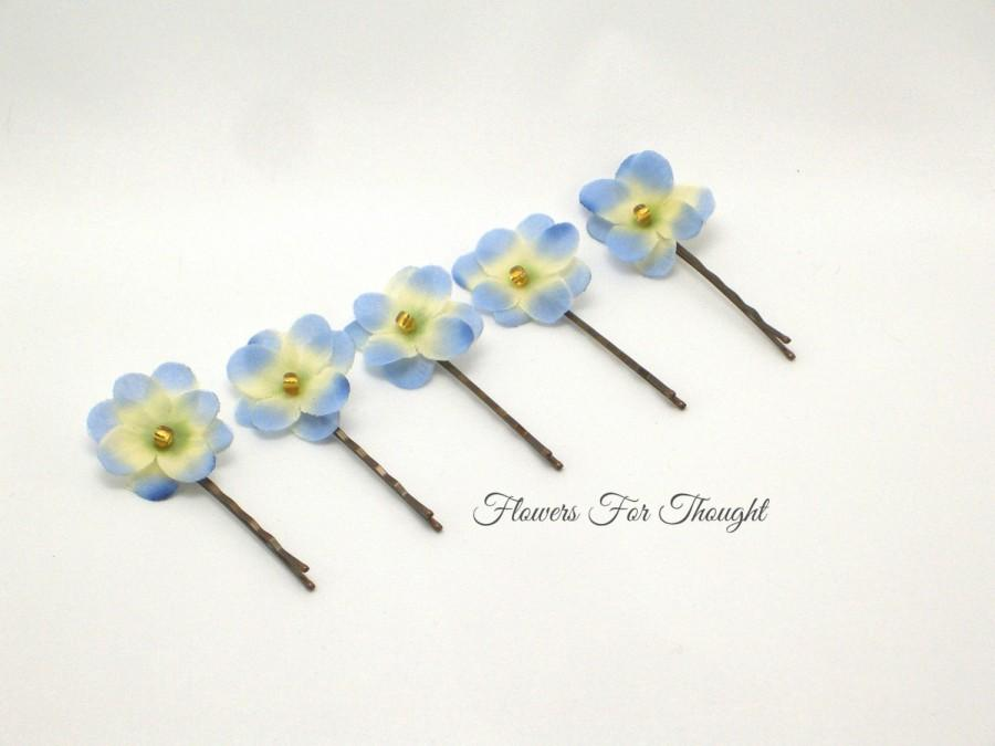 Mariage - Violet Hairpins Light Blue Cream, FFT original, Bridal Hair Something Blue Accessory Silk Flowers Handmade Set of 5
