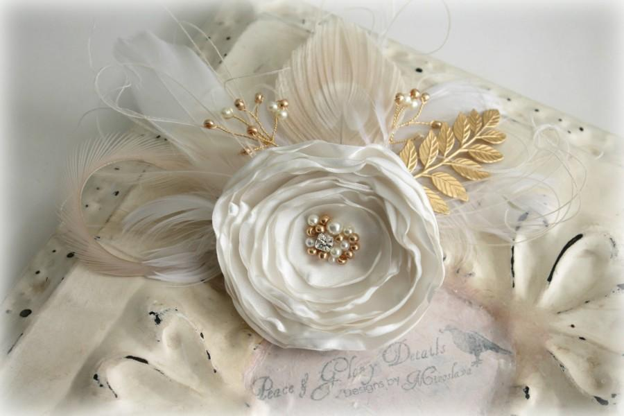 Mariage - Bridal Ivory Gold Leaf Branch Fascinator - Bridal Sash Belt - Feather Peacock Fascinator - Wedding Gift Accessory