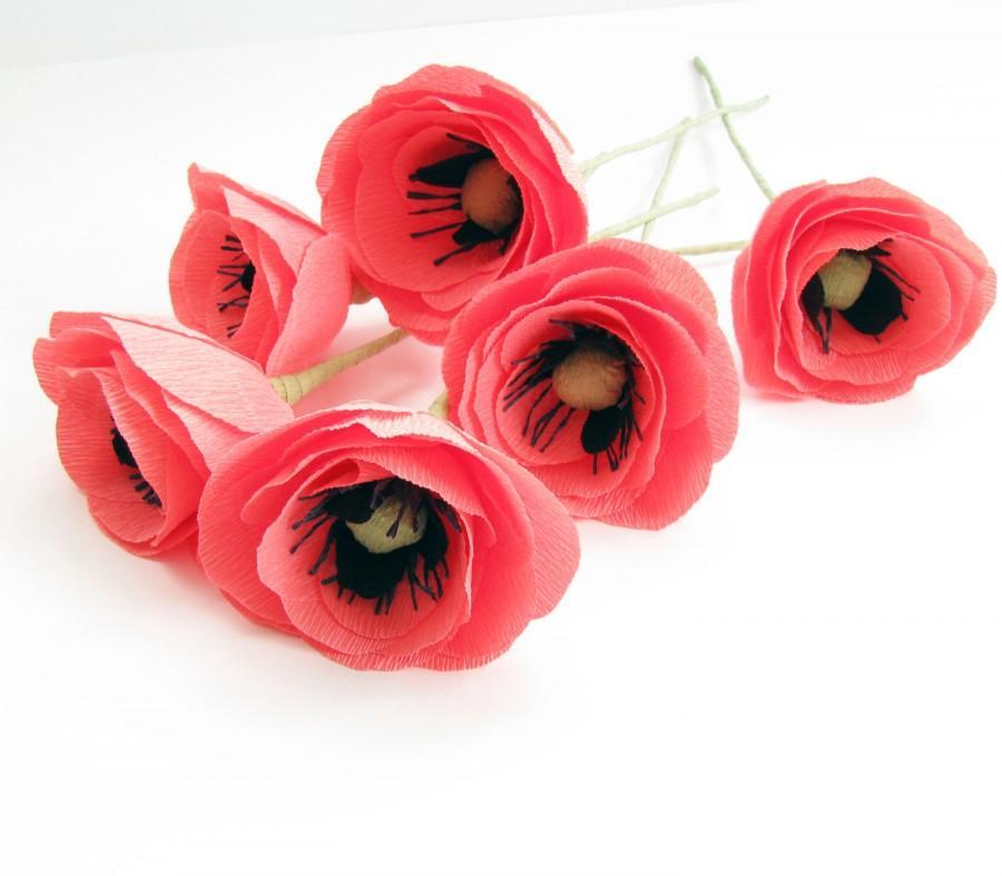 Pink crepe paper flower pink poppies wedding flower pink flower pink crepe paper flower pink poppies wedding flower pink flower paper poppies coral poppies flower centerpiece paper flower interior mightylinksfo