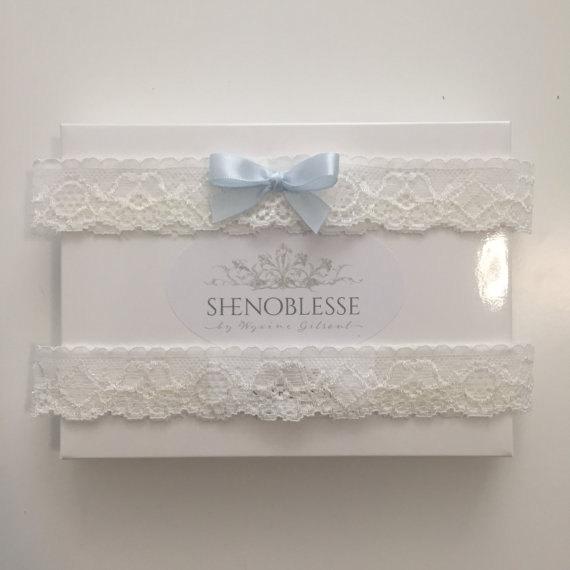 Свадьба - EMMA II ~ Blue bow garter-simple garter-garter with blue-ivory wedding garter-lace garter-ivory vintage garter-rustic garter-blue-eloping