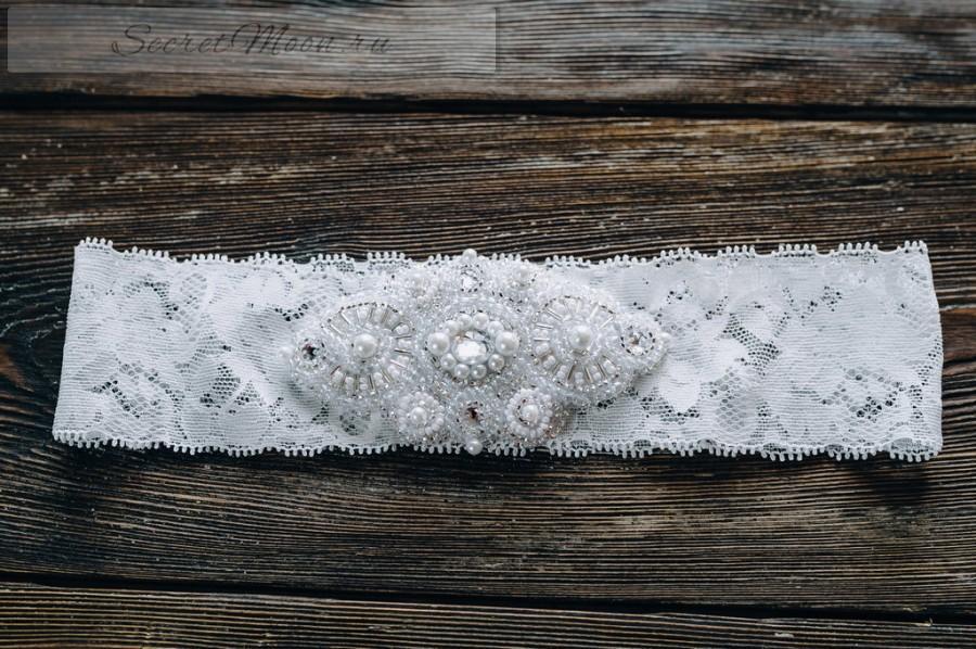 Свадьба - White Garter Wedding Garter Ivory Wedding Garter Ivory Elastic Lace Luxurious Applique Garter Crystal Garter Rhinestone Garter Bridal Garter