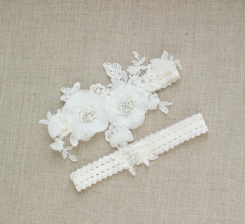 Mariage - Bridal garter, Wedding garter, Bridal Garter set, Lace Garter, Wedding garter set, lace wedding garter, Lace garter set,  Floral garter