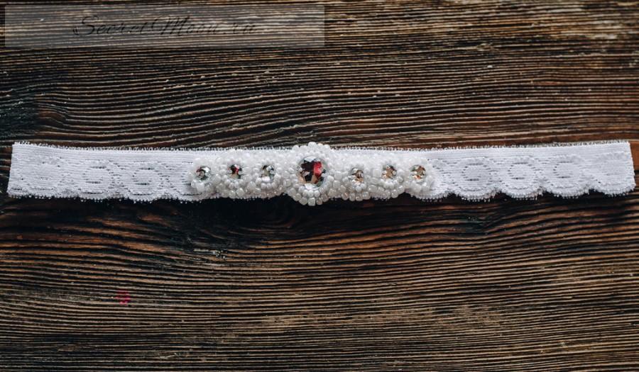 White garter wedding garter ivory wedding garter ivory elastic lace