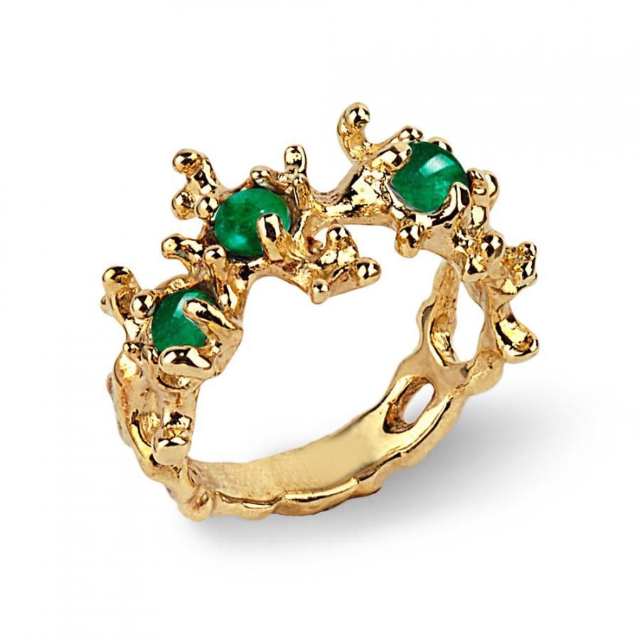 Mariage - BETWEEN THE SEAWEEDS 18k Gold Emerald Ring, Natural Emerald Ring, Unique Gold Ring, Green Emerald Ring