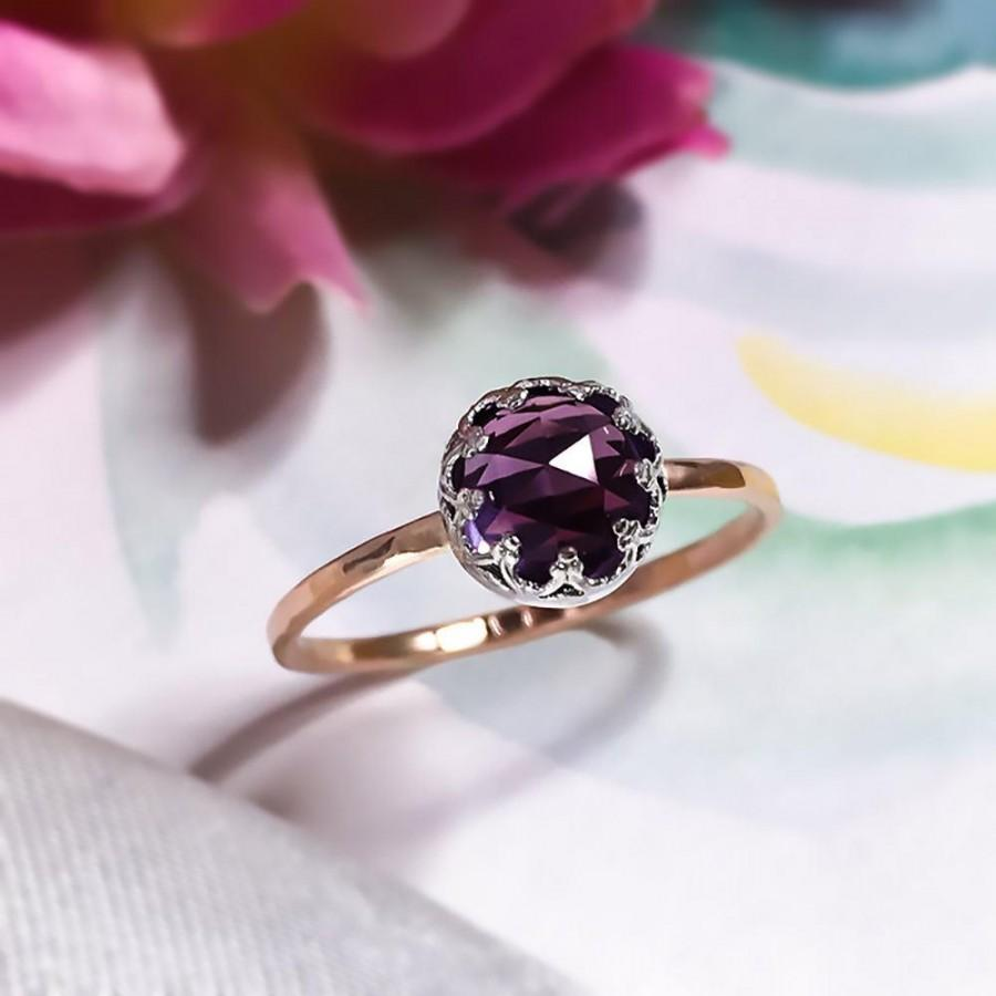 Mariage - Rare Alexandrite ring, 9ct solid gold Alexandrite ring, Engagement ring, Crown Setting ring, 9ct solid gold and silver ring