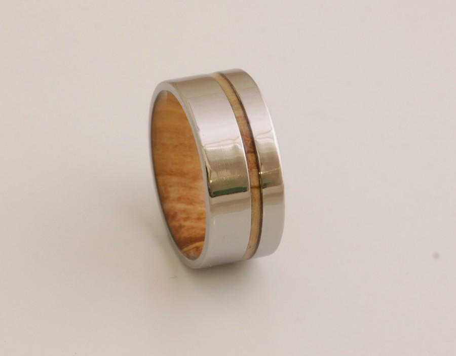 Wedding - Titanium and Spalted Maple Rings // Mens Wood Rings //wood Wedding Band //Men's wedding Band //metal wood jewelry