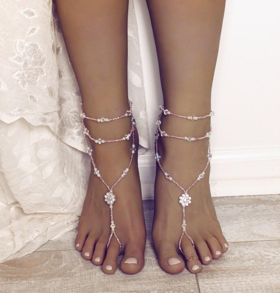 Mariage - Swarovski Barefoot Sandals Beach Wedding Summer Beach Sandals Champagne and White Foot Jewelry for Destination Wedding Bridesmaids gift