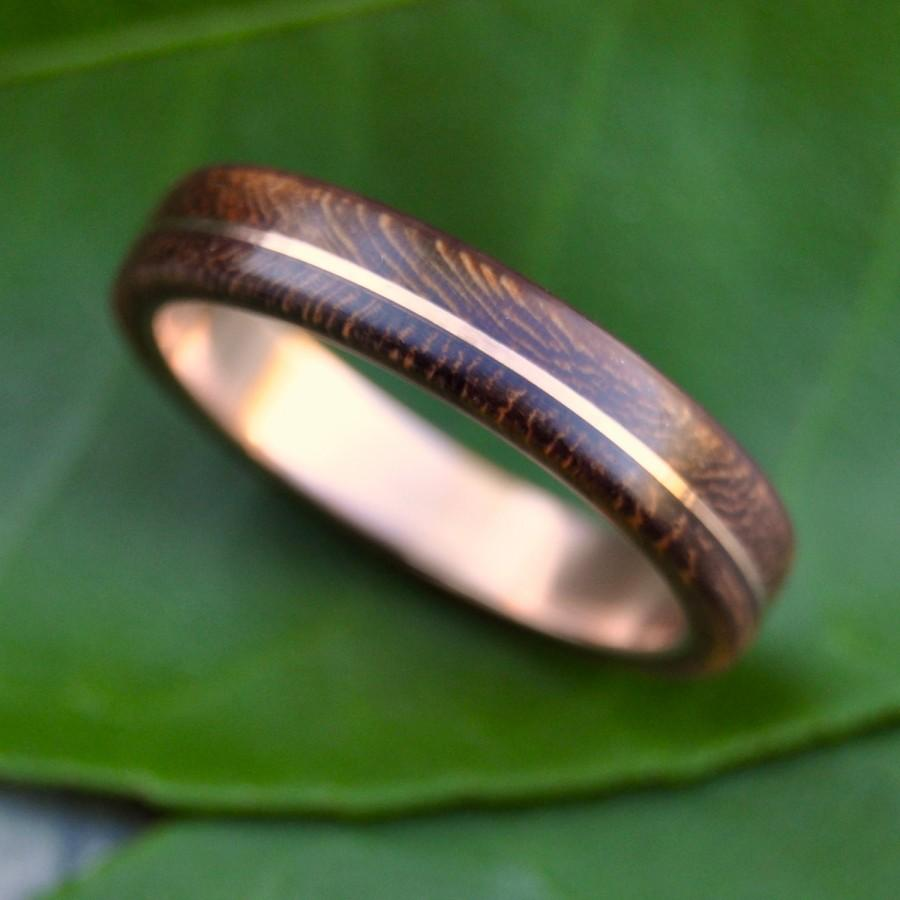 Wood Ring Rose Gold Asi Nacascolo Ecofriendly Wood Wedding Band