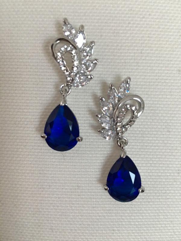 Wedding - Sapphire Blue Wedding Earrings Cubic Zirconia Blue Bridal Jewelry CZ Crystal Earrings Wedding Bridesmaid Gift Bridal earrings Jewelry - $35.90 USD