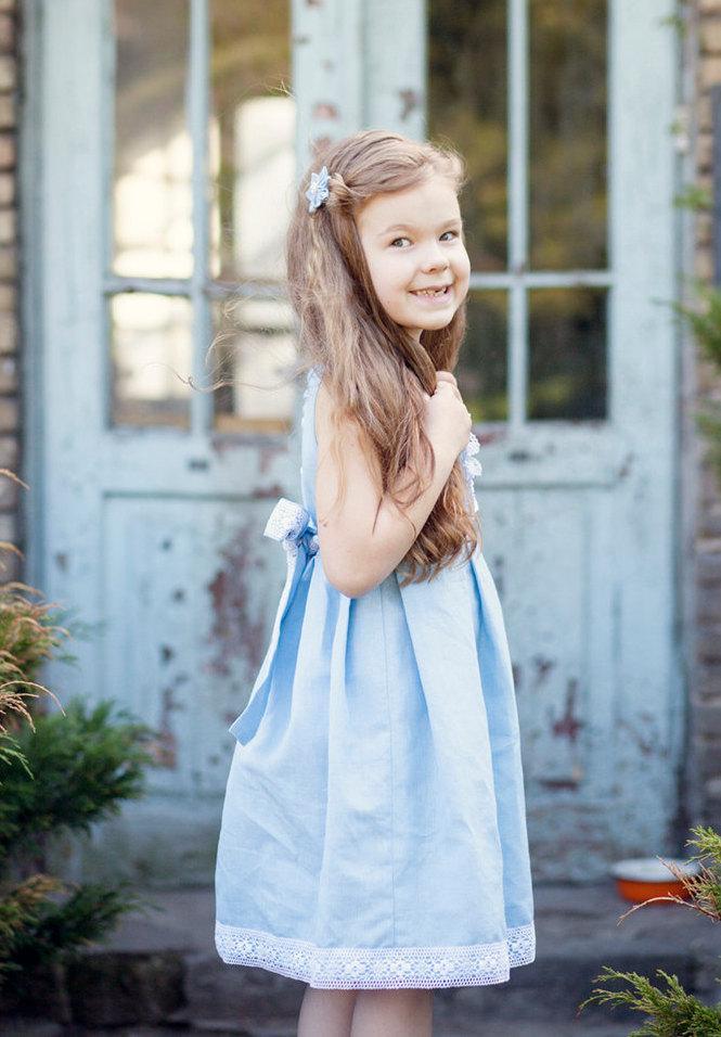 زفاف - Blue flower girl dress -  Rustic Linen flower girl dress in light blue - Special occasion linen girl dress - Blue girl dress