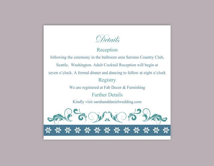 Свадьба - DIY Wedding Details Card Template Download Printable Wedding Details Card Editable Teal Blue Details Card Elegant Floral Information Cards - $6.90 USD