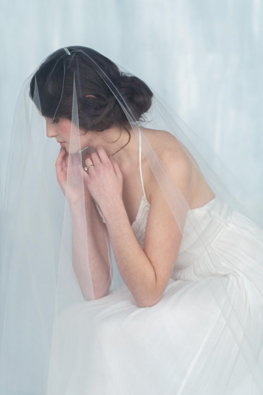 Свадьба - English Tulle Cathedral Veil, Drop Veil, Bridal Veil, Circle Veil, White Wedding Veil, Chapel Veil, Modern Veil, Ballet Veil, DAUPHINE