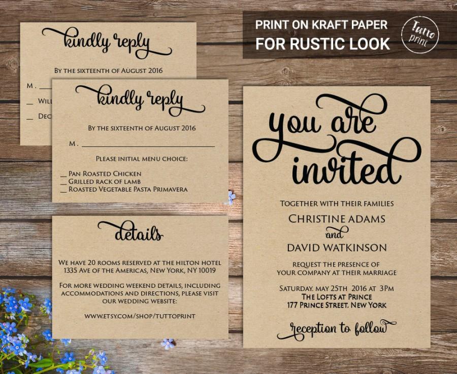 Wedding Invitation Printable Suite, Printable Wedding Invitation ...
