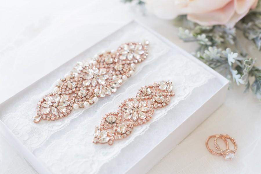 Свадьба - Rose Gold Garter Set - Wedding Garter - Crystal Garter - Pearl Garter Set - Something Blue
