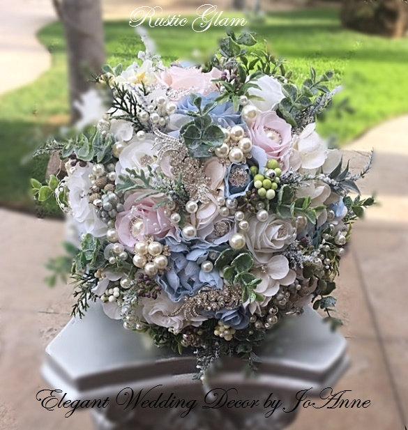 Mariage - RUSTIC WEDDING BOUQUET - 499, Vintage Blue and Ivory Brooch Bouquet, Jeweled Bouquet, Brooch Bouquet, Winter Bouquet, Deposit